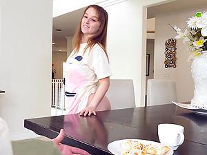 Blue eyed teen cutie Cleo Clementine sucks cock and licks balls