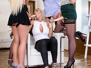 Lesbian strap on group fuck with Nathaly Cherie at the office