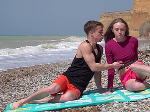 Long haired brunette teen Alex Diaz rides dick on the beach