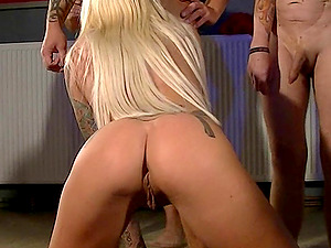 german skinny blonde first time gangbang