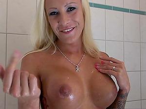 german skinny blonde big clit anal pov shower