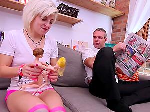 Wild blonde Anastasya Luna eating a friend's fat dick before sex