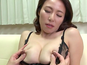 Mizuno Yuuka gets her haired pussy fucked on the couch by her friend