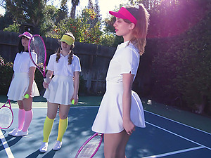 Daphne Dare plays tennis with her friend before horny dude destroys their pussies