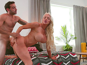 Busty Barbie Nicolette Shea likes to cum with her favorite toy before hard sex