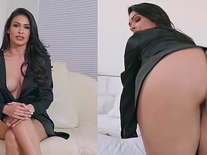 Katana Kombat sucks a stiff friend's dick before she gets fucked from behind