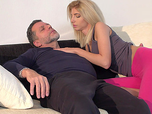 Missy Luv sucks a fat friend's penis before she gets banged on the couch