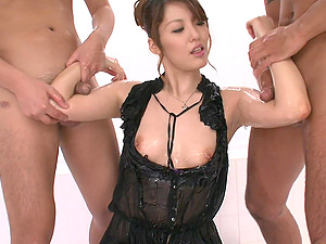 oiled and wet Nanami gets her pussy pounded by two handsome friends