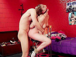 Tied blonde Stella Cox blowing a friend's cock before hard sex