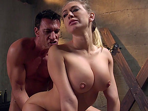 Amazing blonde Kagney Linn Karter with round tits tied up and fucked