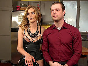 Submissive husband tortured and pegged by his lovely blonde wife