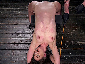 Tied Katharine Cane is ready for the BDSM experience with a dude