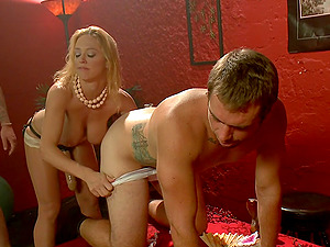 Bisexual husband having a threesome with his wife and a stranger