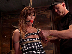 Submissive Alaina Dawson enjoys sex games while she hangs tied