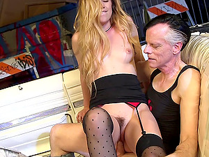 Trimmed pussy blonde Lyra Law gets fucked with a dick and a dildo
