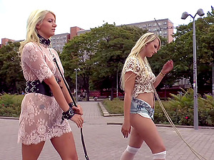 Blonde Juliette March loves everything about humiliation in the public