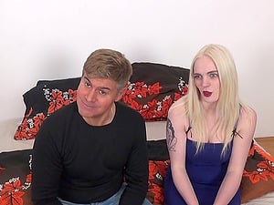 Blonde Carly Rae Summers kneels down and drools on a dick