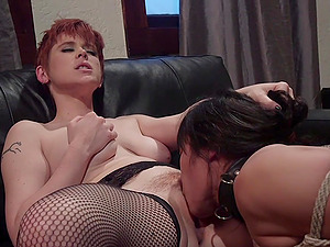 Bondage and lesbian sex is a new experience for horny Lily Cade