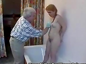 Blonde Hairy Girl Butt And Pussy Fuck By Old Fellow
