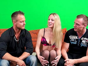 german skinny blonde homemade threesome