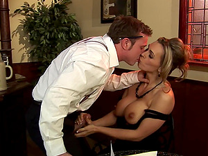 Tanya Tate riding her friend's cock in the restaurant after a blowjob