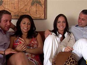 Dark-haired Beauties Cassandra Cruz and Kylee King Exchange Colleagues in Fourway