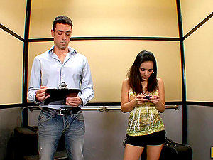 Banging Petite Black-haired Tia Cyrus in Out of Order Elevator