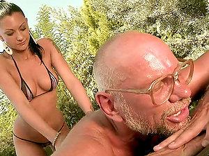 Slender Skanky Whore Deep throats Grandpa Dick & Gets Screwed