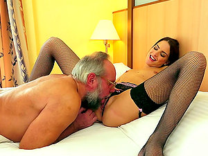 Gorgeous Brown-haired Stunner In Stockings Gets Fucked By Old Dude