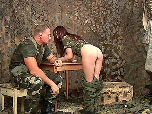 Uniformed Japanese bomb enjoys a spanking by her strong commader