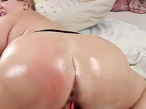 Horny bbw rides her juicy fat ass with lovense lush toy