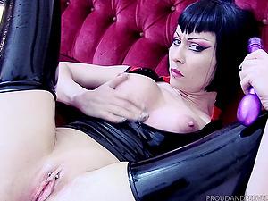 Sxy girl masturbates with a dildo thinking about friend's hard pecker