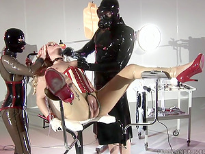 Kinky threesome experience can't be better for tied blonde on the desk