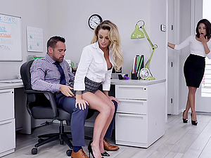 Isabelle Deltore enjoys a threesome in the office with Isabella Nice