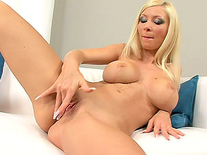 Blonde Helena Sweet Getting Down Finger-tickling Her Beaver on the Couch
