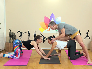 After workout Violetta wants to fuck in a group with her horny trainer