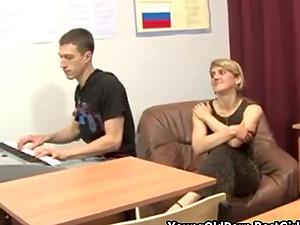 Russian Blonde Milf Teacher Fucks Her Young Student