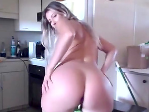 Horny blonde girlfriend wiggling her fat ass and loves her buttplug