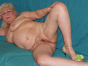 Hot blonde grannies masturbates her big  pussy