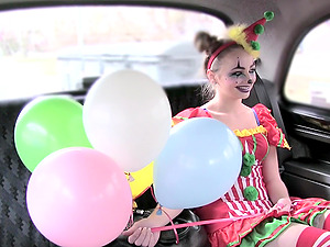 Kinky and costumed blonde adores sex in the taxi with a driver