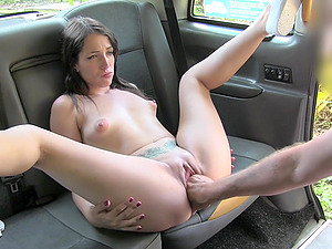 Liz Rainbow gets her cunt fucked by a handsome guy in the car