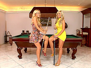 Two Beaver Munching Hot Blondes On The Pool Table