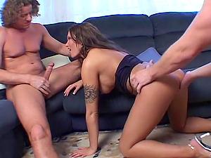 Hot Brunette MILF Hardcore Double Penetration
