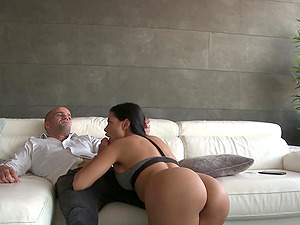 Standing doggy style after amazing blowjob is all about hottie thinking