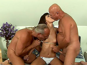 Two Old Geezers Share A Hot Black-haired Honey