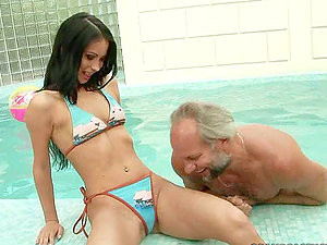 Old Albert fucking a fresh faced sweetheart by the pool