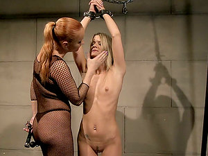 Horny blondie Lillandra becomes a bang-out victim of lusty Katy
