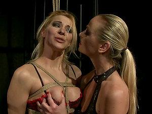 Cindy Hope and Dorina Gold have fun Sadism & masochism games in a basement