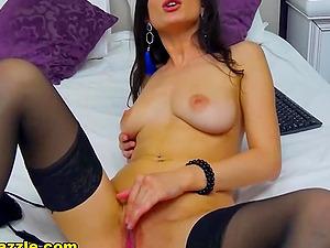 Horny Brunette Babe Plunges Dildo Deep In dark pussy