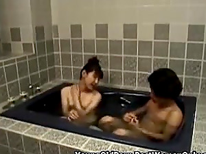 Asian Japanese Cougar In Shower With Young Guy